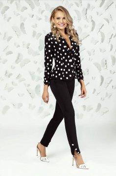 Black trousers elegant straight medium waist with pockets