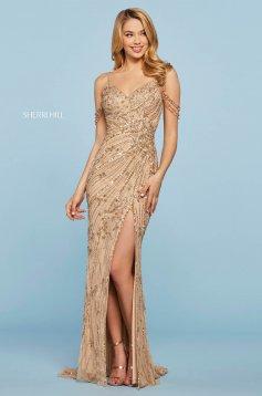 Rochie Sherri Hill 53610 gold
