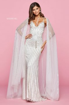Rochie Sherri Hill 53611 ivory/silver