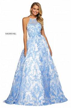 Rochie Sherri Hill 53620 ivory/blue
