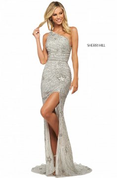 Rochie Sherri Hill 53784 light blue/silver