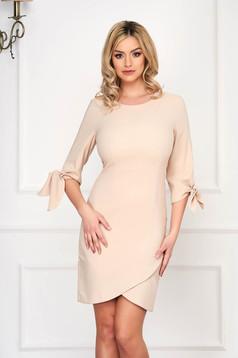 Cream dress elegant short cut pencil wrap around thin fabric