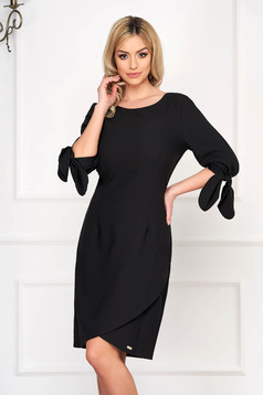 Black dress elegant short cut pencil wrap around thin fabric