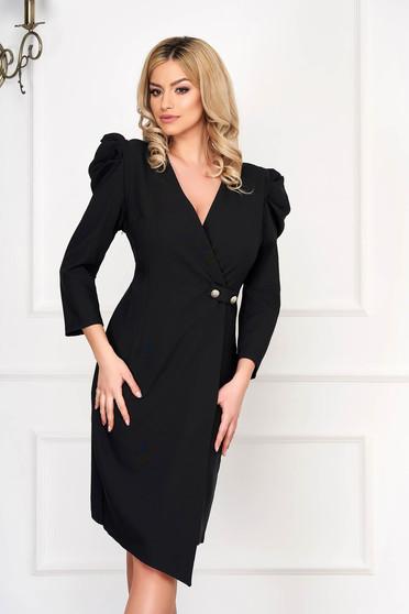 Rochie neagra eleganta midi asimetrica tip creion din stofa cu umeri cu volum