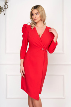 Coral dress elegant midi asymmetrical pencil cloth high shoulders