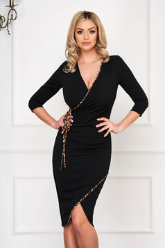 StarShinerS brown dress elegant midi pencil with deep cleavage
