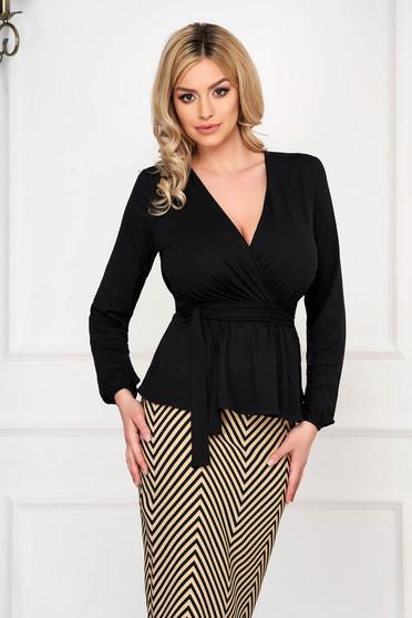 Bluza dama StarShinerS neagra office mulata scurta din jersey cu decolteu in v si accesorizata cu cordon