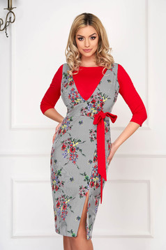 Set StarShinerS red elegant cotton with floral print with laced details