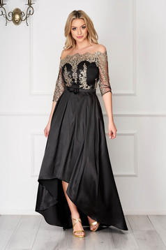 Black StarShinerS asymmetrical occasional cloche dress from satin off-shoulder lace and sequins details