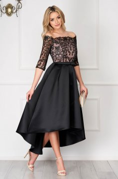 Black asymmetrical occasional dress StarShinerS from satin laced flaring cut off-shoulder