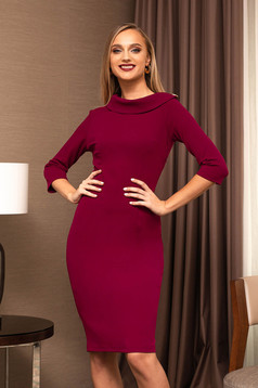Raspberry dress office elegant pencil with 3/4 sleeves back slit