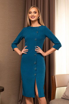 Office dress turquoise pencil midi with button accessories