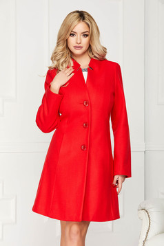 Red elegant short cut cloche trenchcoat with pockets