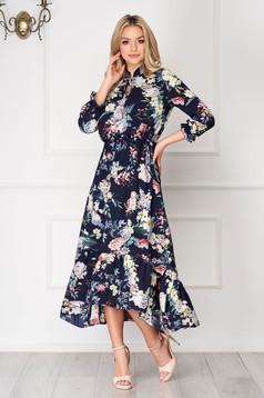 Rochie neagra asimetrica eleganta din voal cu imprimeuri florale si elastic in talie