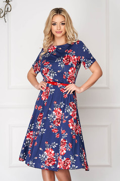StarShinerS blue dress midi cloche short sleeves accessorized with belt