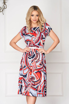 Blue office short cut cloche dress with graphic print accessorized with belt short sleeves