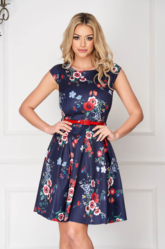 StarShinerS darkblue office short cut cloche dress short sleeves accessorized with belt