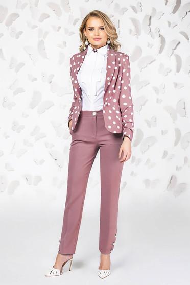 Pantaloni PrettyGirl roz eleganti cu un croi drept cu talie medie cu buzunare