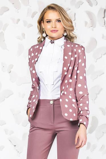 Sacou PrettyGirl roz elegant cu maneci lungi cu buline