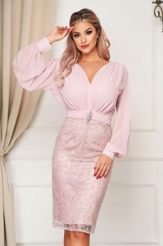 Dress lightpink occasional from veil fabric laced pencil midi