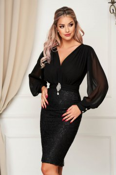Dress black occasional from veil fabric laced pencil midi