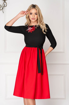 Red StarShinerS midi occasional cloche dress cloth with 3/4 sleeves