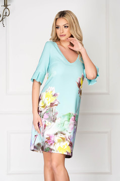 Mint StarShinerS elegant midi flared dress cloth bell sleeves with floral print
