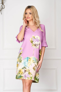 Purple StarShinerS elegant midi flared dress cloth fabric bell sleeves with floral print