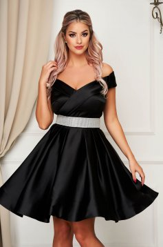 Black dress from satin cloche short cut off-shoulder occasional accessorized with a waistband