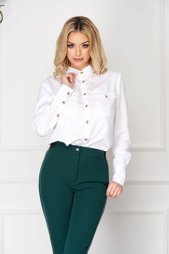 White short cut tented office women`s shirt closure with gold buttons with pockets