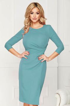 StarShinerS turquoise dress office midi pencil slightly elastic fabric pleats at the bust slit