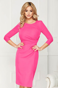 StarShinerS fuchsia dress office midi pencil slightly elastic fabric slit