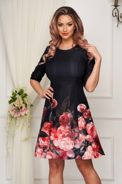StarShinerS black dress short cut daily cloche cloth from elastic fabric with floral print