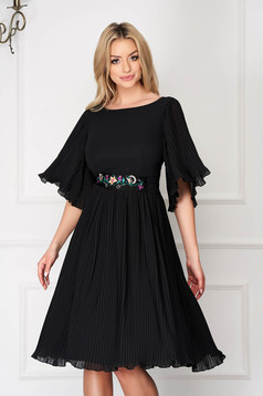 Dress StarShinerS black elegant midi from veil fabric folded up detachable cord