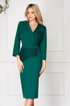 Green office midi pencil dress with lace details wrap over front