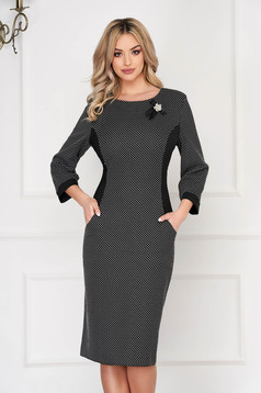Black dress office midi cloth with pockets with graphic details