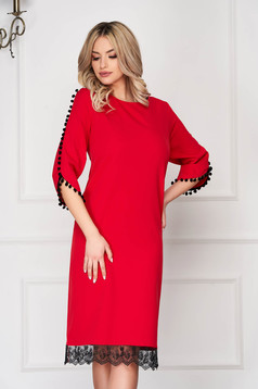 Red dress elegant midi straight cloth with tassels with lace details