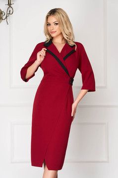 Red office midi blazer type dress with v-neckline wrap over skirt