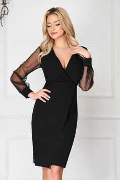 Rochie neagra eleganta din stofa tip creion cu decolteu adanc si maneci transparente