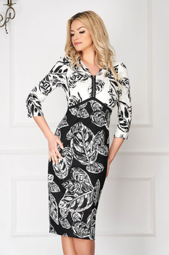 White office midi pencil dress with print details with 3/4 sleeves
