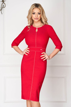Red midi elegant pencil dress accessorized with belt with puffed sleeves one button fastening