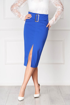 StarShinerS blue office high waisted midi pencil skirt buckle accessory slit