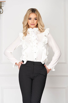 StarShinerS white office tented short cut women`s shirt with button accessories with ruffle details long sleeved