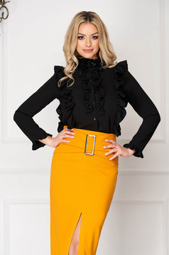 StarShinerS black office tented short cut women`s shirt with button accessories with ruffle details long sleeved