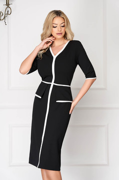 StarShinerS black office midi pencil dress with 3/4 sleeves