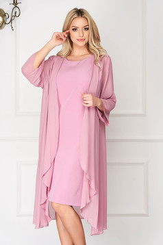 Rochie roz prafuit eleganta midi cu un croi drept din stofa fara maneci cu suprapunere cu voal
