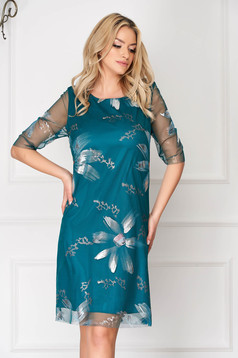 Turquoise elegant short cut dress straight from veil with floral prints