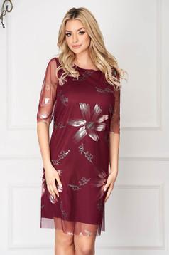 Burgundy elegant short cut dress straight cut from veil with floral prints