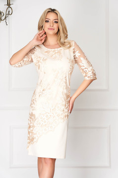Cream occasional midi dress straight cut cloth fabric with lace details