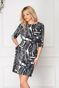 StarShinerS black elegant midi dress with pockets with 3/4 sleeves